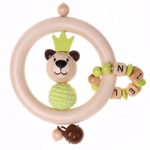 Bastelset Greifling Bär mit Krone grün