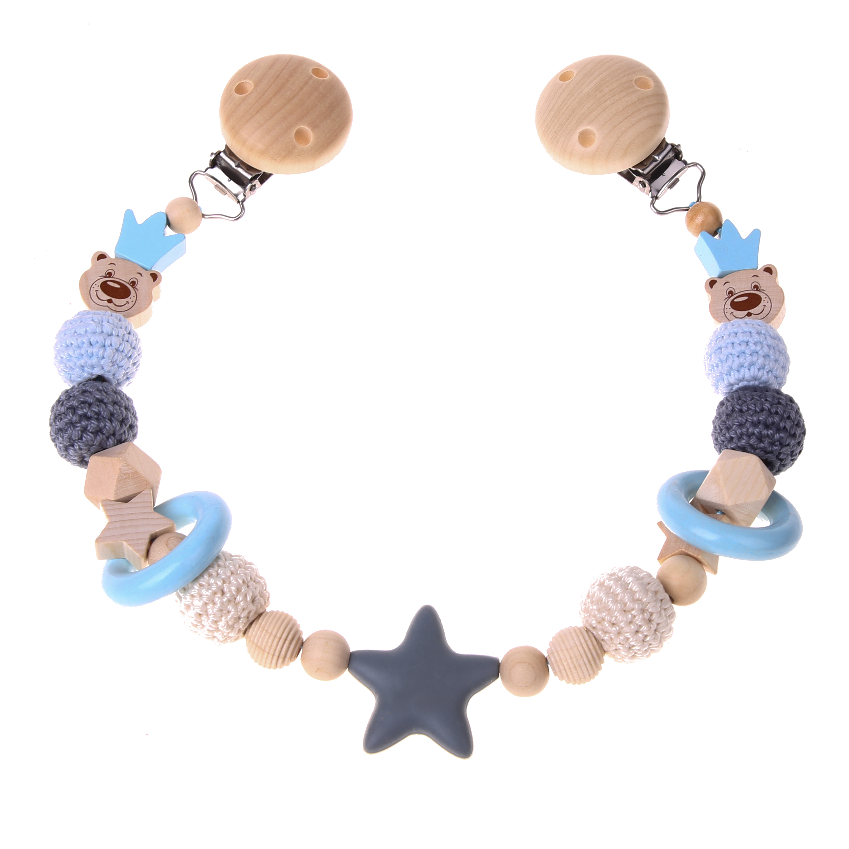 Kinderwagenkette Bastelset Bär mit Krone babyblau