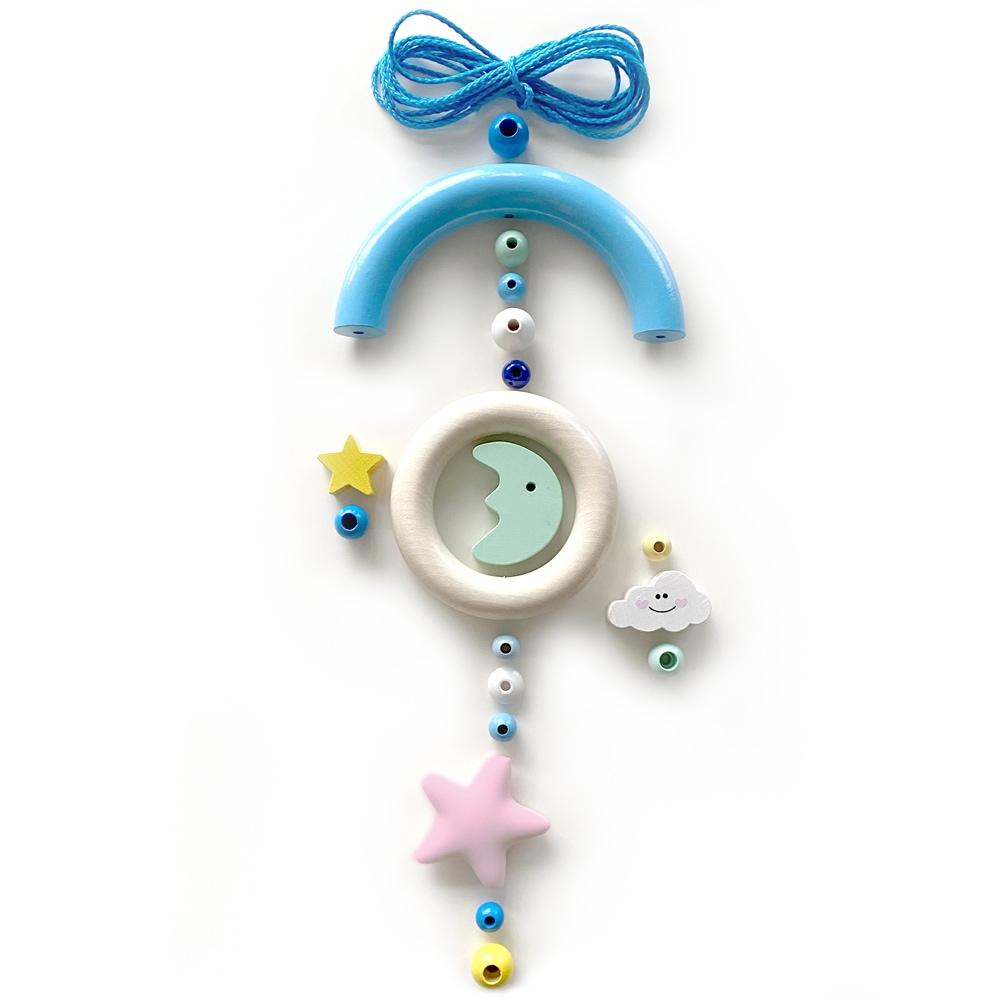 Bastelset Baby Mobile, Mond und Sterne Blau