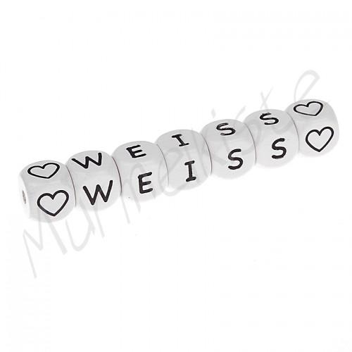 Holzbuchstaben Weiss 10x10mm geprägt