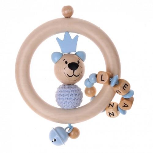 Bastelset Greifling Bär mit Krone blau