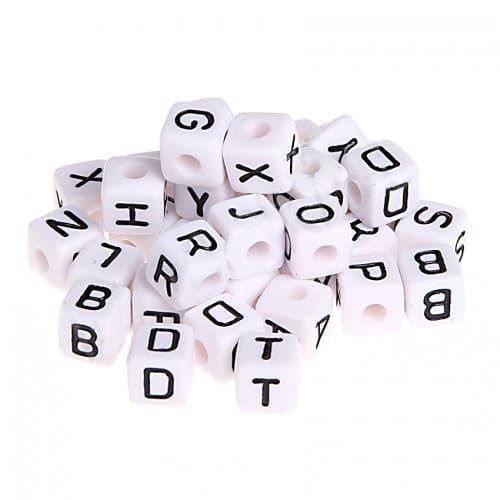 Buchstabenperlen 10mm Kunststoff