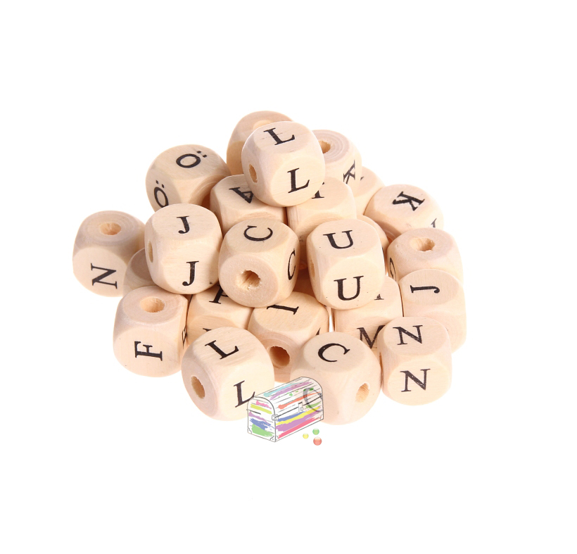 Buchstabenwürfel Holz bedruckt 11 mm B-ware 10 Stück