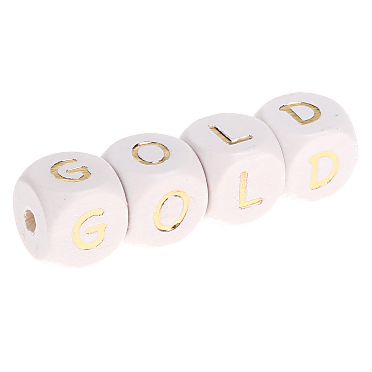 Buchstabenperlen weiss-gold 10mm x 10mm