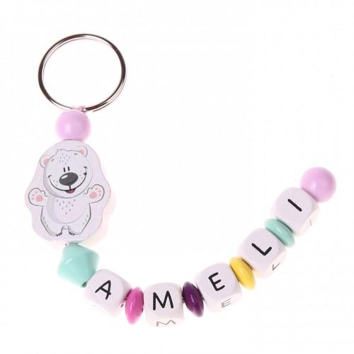 Bastelset Schlüsselanhänger Eisbär (rosa)