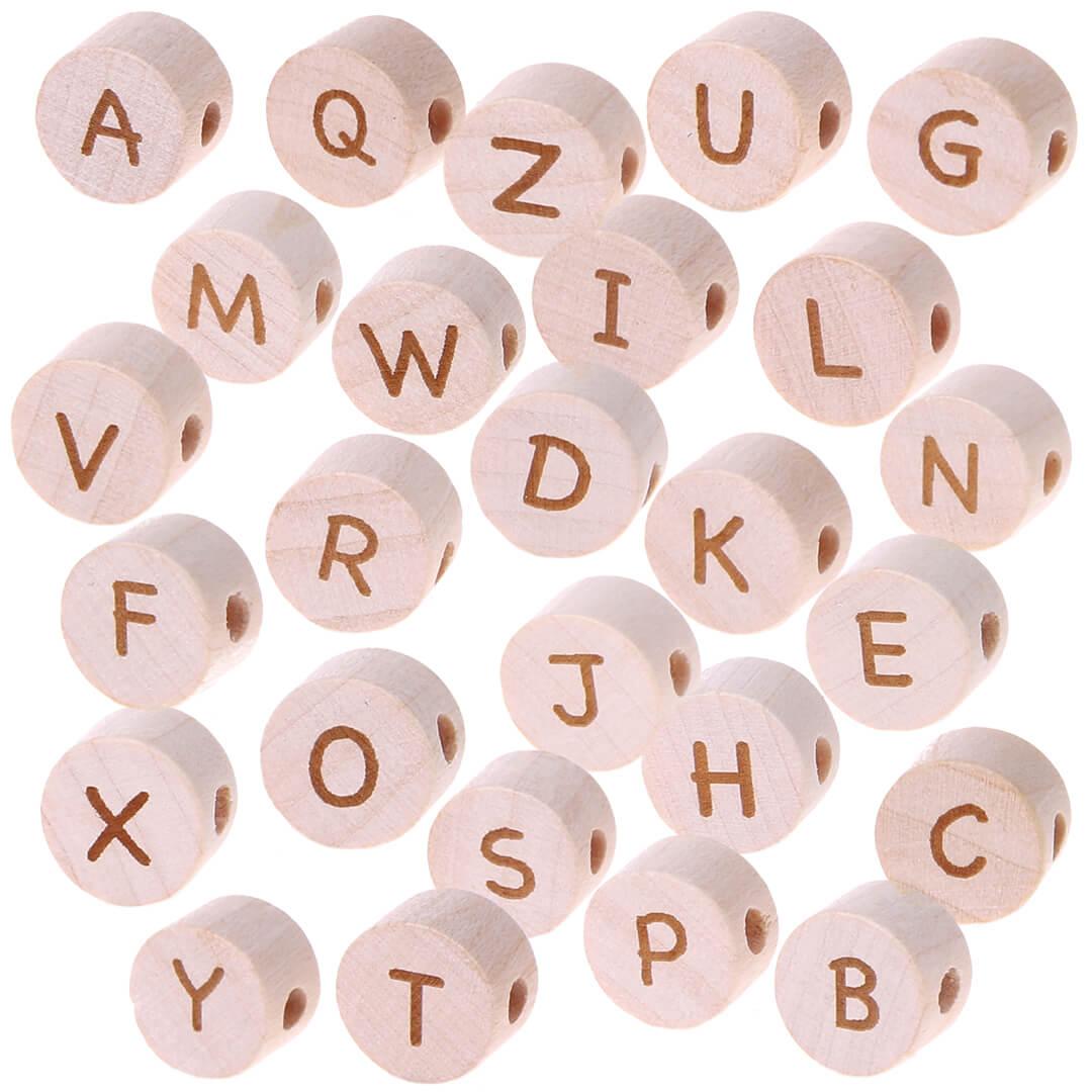 Buchstabenperlen Scheibe Lasergravur Ø 11 mm