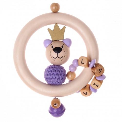 Bastelset Greifling Bär mit Krone lila
