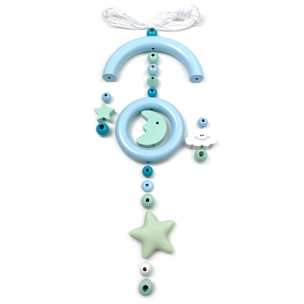 Bastelset Baby Mobile, Mond und Sterne Babyblau