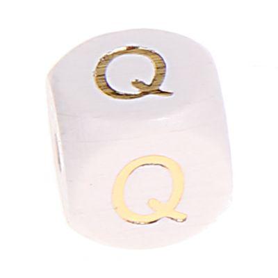 Buchstabenperlen weiss-gold 10mm x 10mm 'Q' 0 auf Lager