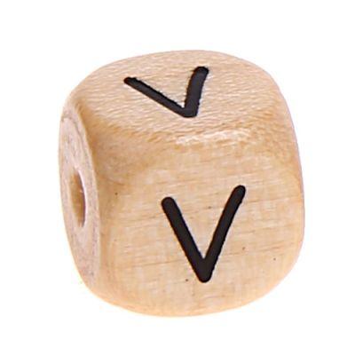 Buchstabenwürfel Holz geprägt 10 mm 'V' 489 auf Lager