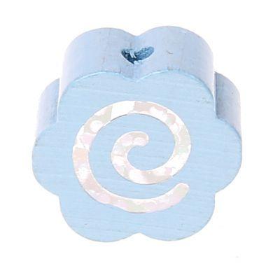 Motivperle Glitzerblümchen Spirale 'babyblau' 674 auf Lager