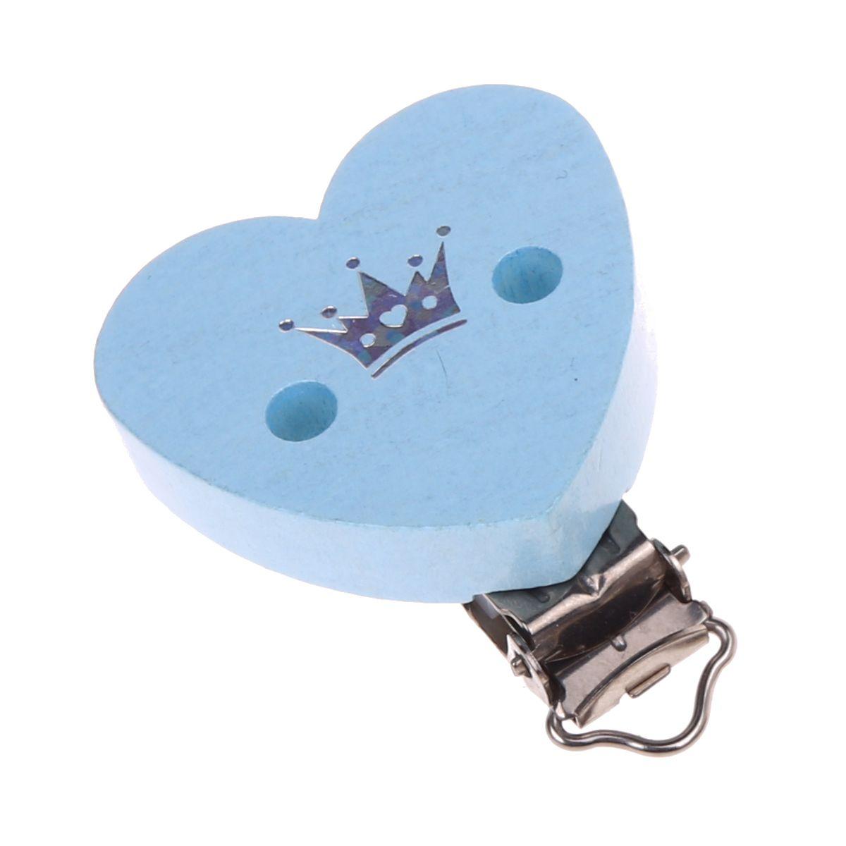 Herzclip Glitzerkrone 'babyblau' 462 auf Lager
