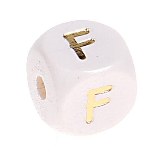 Buchstabenperlen weiss-gold 10mm x 10mm 'F' 215 auf Lager