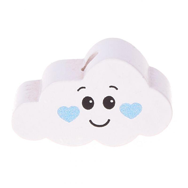 Motivperle Wolke Gesicht 'weiß-babyblau' 3 auf Lager