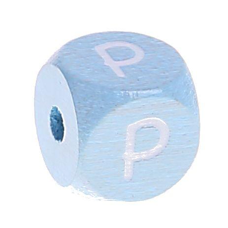 Buchstabenperlen babyblau 10x10mm 'P' 538 auf Lager