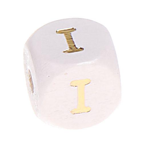 Buchstabenperlen weiss-gold 10mm x 10mm 'I' 1930 auf Lager