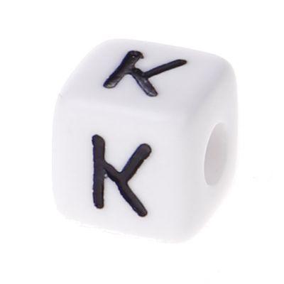 Buchstabenwürfel Kunststoff 10x10mm weiß/schwarz • 10 Stk 'K' 108 auf Lager