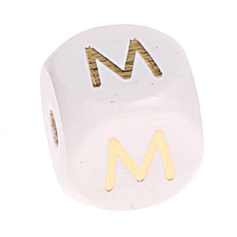 Buchstabenperlen weiss-gold 10mm x 10mm 'M' -1 auf Lager