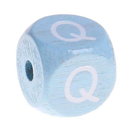 Buchstabenperlen babyblau 10x10mm 'Q' 361 auf Lager