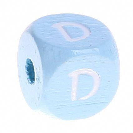 Buchstabenperlen babyblau 10x10mm 'D' 900 auf Lager