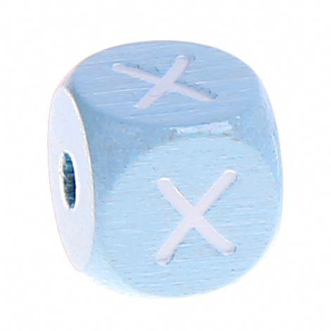 Buchstabenperlen babyblau 10x10mm 'X' 777 auf Lager