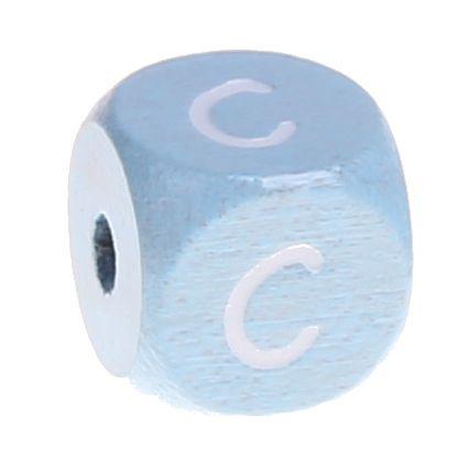 Buchstabenperlen babyblau 10x10mm 'C' 651 auf Lager