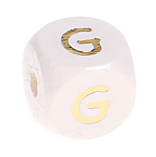 Buchstabenperlen weiss-gold 10mm x 10mm 'G' 101 auf Lager