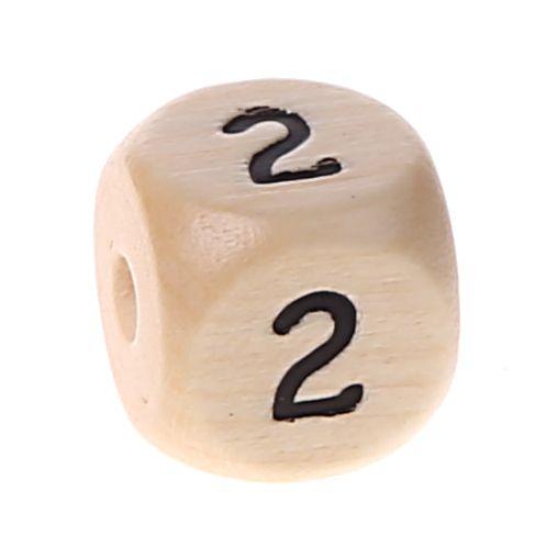 Zahlenperlen 10 mm geprägt '2' 547 auf Lager