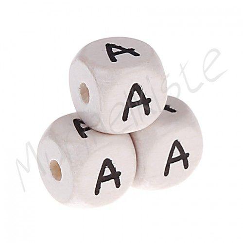 Buchstabenperlen weiß 10x10mm geprägt 'A' 2476 auf Lager