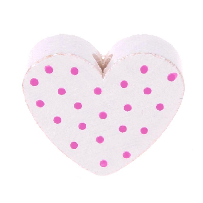 Motivperle Herz gepunktet 'weiß-pink' 81 auf Lager