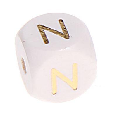 Buchstabenperlen weiss-gold 10mm x 10mm 'N' 0 auf Lager