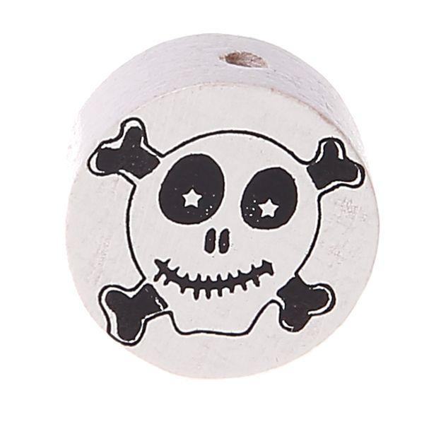 Motivperle Scheibe Happy Skull 'weiß' 123 auf Lager