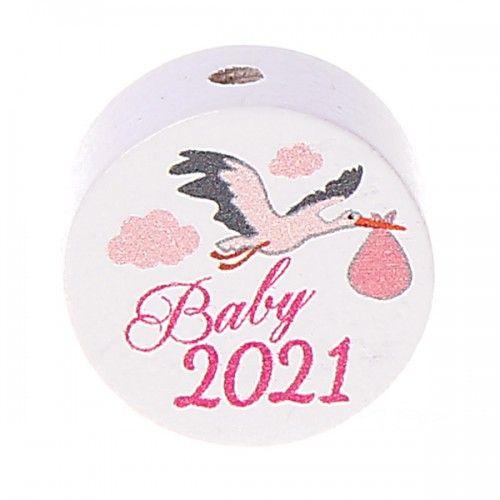 Motivperle / Scheibe Baby 2021  'rosa' 33 auf Lager