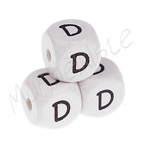 Buchstabenperlen weiß 10x10mm geprägt 'D' 216 auf Lager