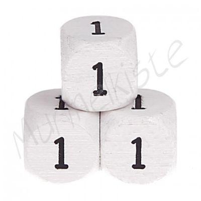 Buchstabenperlen weiß 10x10mm geprägt '1' 317 auf Lager