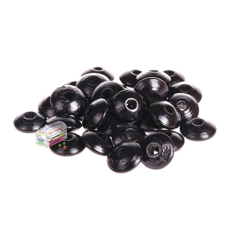 Holzlinsen 10mm • 50 Stück 'schwarz' 213 auf Lager