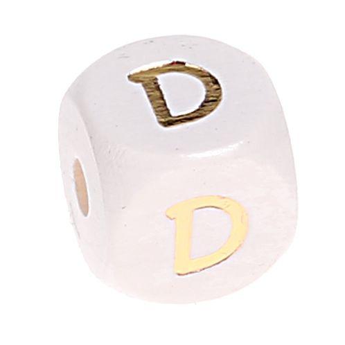 Buchstabenperlen weiss-gold 10mm x 10mm 'D' 270 auf Lager