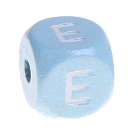 Buchstabenperlen babyblau 10x10mm 'E' 1768 auf Lager