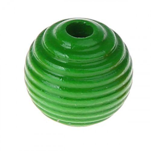 Rillenperlen 14mm • 15 Stück 'grün' 43 auf Lager