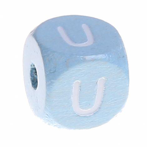 Buchstabenperlen babyblau 10x10mm 'U' 1149 auf Lager