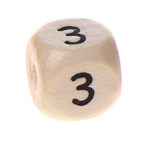 Zahlenperlen 10 mm geprägt '3' 494 auf Lager