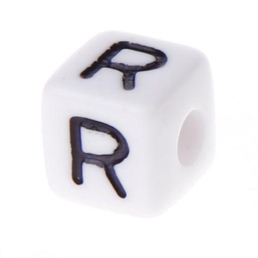 Buchstabenwürfel Kunststoff 10x10mm weiß/schwarz • 10 Stk 'R' 286 auf Lager