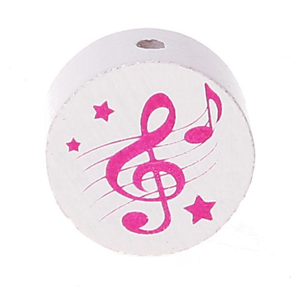 Motivperle Scheibe Notenschlüssel 'weiß-pink' 145 auf Lager