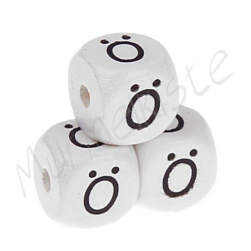 Buchstabenperlen weiß 10x10mm geprägt 'Ö' 599 auf Lager