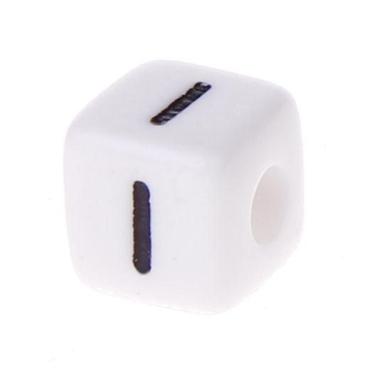 Buchstabenwürfel Kunststoff 10x10mm weiß/schwarz • 10 Stk 'I' 600 auf Lager