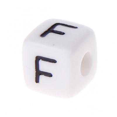 Buchstabenwürfel Kunststoff 10x10mm weiß/schwarz • 10 Stk 'F' 50 auf Lager