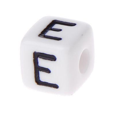 Buchstabenwürfel Kunststoff 10x10mm weiß/schwarz • 10 Stk 'E' 496 auf Lager