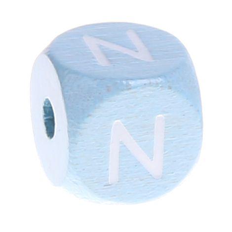 Buchstabenperlen babyblau 10x10mm 'N' 892 auf Lager