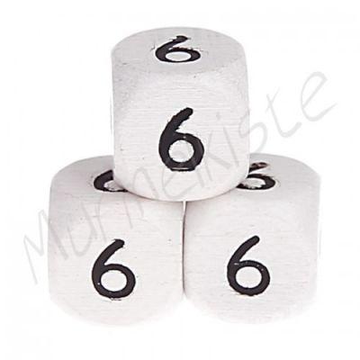 Buchstabenperlen weiß 10x10mm geprägt '6' 475 auf Lager