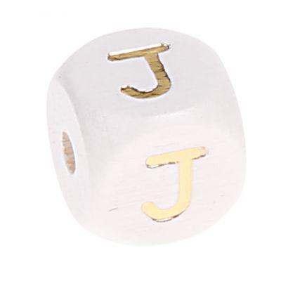 Buchstabenperlen weiss-gold 10mm x 10mm 'J' 321 auf Lager